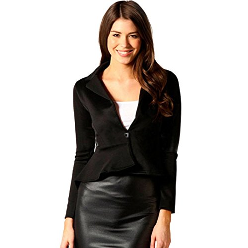 KaloryWee Blazer para Mujer Chaqueta de Peplum Slim Fit Crop Shill Shift - Blazer para Mujer