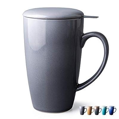 GBHOME Tea Cups with Infuser and Lid, 19 Ounces Large Tea infuser Mug, Tea Strainer Cup with Tea Bag Holder for Loose Tea, Ceramic Tea Steeping Mug, Gray Gradient