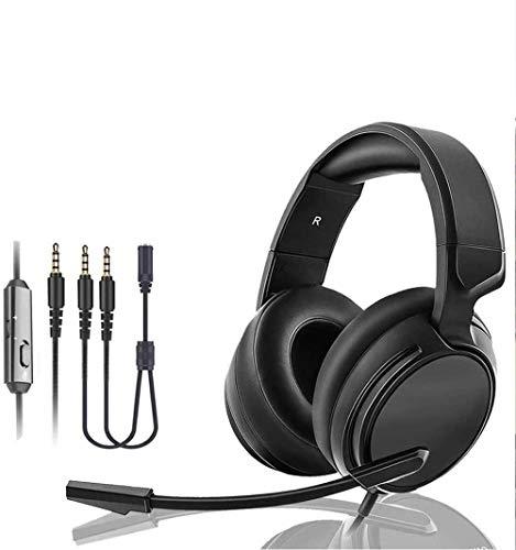 Kabelgebundenes Gaming-Headset E-Sportspiel-Kopfhörer 3,5-mm-Steckerdurchmesser Head-Mounted-Lautstärkeregler mit drehbarem Rauschunterdrückungsmikrofon für PS4 Nintendo Switch PC Laptop Xbox O