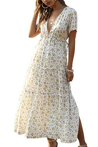 Yacun Femmes été décontracté Robe Vintage Floral Split Longues Robes de Plage Blanc S