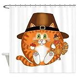 N / A Cafe Press Bauble Cat Thanksgiving Duschvorhang Badezimmer wasserdichte Polyester-Druckvorhänge für die Badezimmerdusche-B180xH200cm