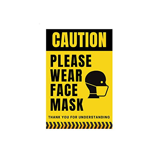 Face Mask Sign Sticker - 5 Pack 'Please Wear Mask Sign' - Highly-Visible, Self Adhesive, and Durable Caution Stickers for Businesses, Schools, Stores, and Workplaces