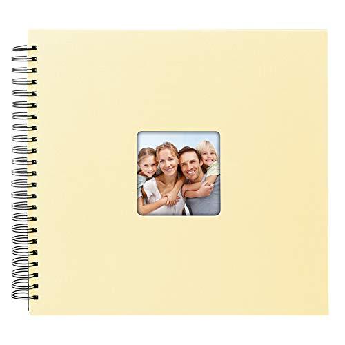 goldbuch Spiralalbum Living Sand, Erinnerungsalbum mit Bildausschnitt, Fotoalbum mit 50 schwarzen Seiten, Foto Album zum Einkleben, Fotobuch mit Einband in Leinenoptik, 25 095, Papier, Beige, 32x36 cm