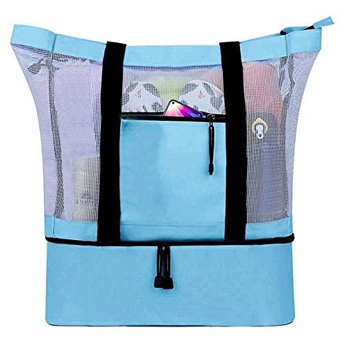 SeBeLi Große Strandtasche Badetasche XXL mit Wasserdichter Kühlfach, Mesh Beach Bag Reißverschluss Hoch Kapazität Schultertasche Shopper Strandtasche Familie für Reise, 49 x 41 x...