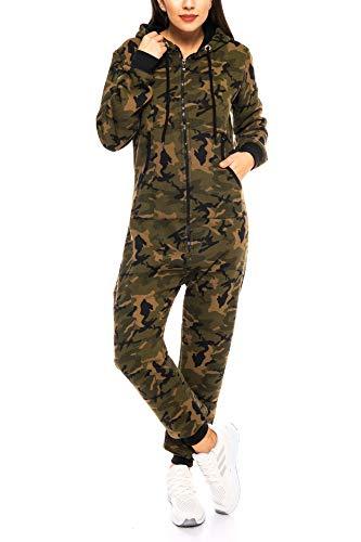 Crazy Age Tarn Jumpsuit Onesie Einteiler Ganzkörperanzug Camouflage Army Bundeswehr (Woodland(2915), W40)