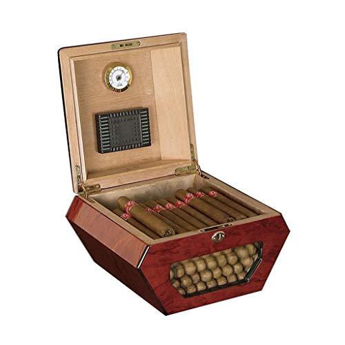 LIMEI-ZEN 湿度計加湿器大容量50と創造シガーキャビネットメンズギフトボックス葉巻ヒュミドールの杉の木のシガレットケースのピアノの塗料は、オフィスの新古典的なポータブルシガーハムのためのBLE sticksred シガーケース