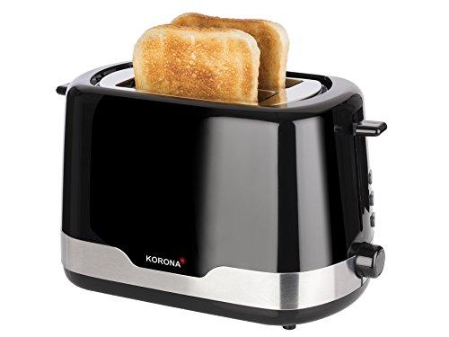 Korona 21232 Edelstahl Toaster Schwarz - 2 Scheiben Toaster mit Brötchenaufsatz sowie einer Auftau- und Aufwärmstufe