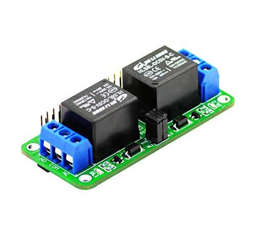 Sb Components Zero Relay - Relé de 2 canales de 5 V para Raspberry Pi, relé de expansión para Raspberry Pi 4B/3B+/3B/2B/B+/A+/Zero W   Módulo de relé de alimentación para Raspberry Pi