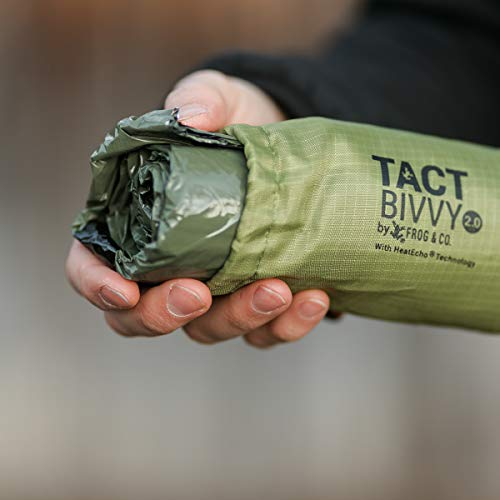 Product Image 2: Tact Bivvy 2.0 HeatEcho Emergency Sleeping Bag, Compact Ultra Lightweight, Waterproof, Thermal Bivy Cover, Emergency Shelter Survival Kit – w/Stuff Sack, Carabiner, Survival Whistle + ParaTinder