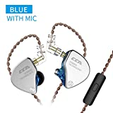 CCA CA4 in Ear Metal Earphones Zinc Alloy Cover + Imported Resin Cavity + Aluminum Alloy with Detachable Cable, 1BA + 1DD for Smartphones and Digital Audio Players(Blue with mic)