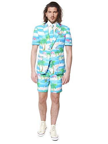 OppoSuits Herren Men Suit Business-Anzug Hosen-Set Inklusive Shorts, Kurzarmjacke & Krawatte, Flaminguy, 58 EU