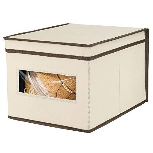 mDesign Caja de almacenamiento apilable con ventana para el armario y el dormitorio – Caja organizadora grande con tapa fabricada en fibra sintética – Organizador de ropa – crema y marrón espresso