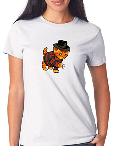 Certified Freak Evil Cat T-Shirt Girls White S