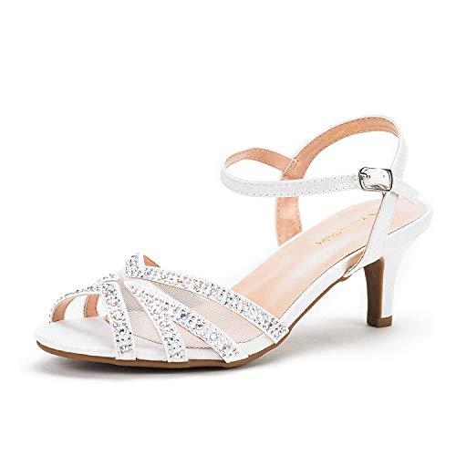 DREAM PAIRS Women's Nina-166 White Low Heel Pump Sandals - 7 M US