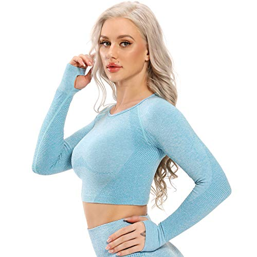 STARBILD Maglia Sportiva da Donna a Manica Lunga Maglieria Senza Cuciture Camicie T-Shirt Corto Yoga Top sotto Maglie Magliette Abbigliamento Canotta Corsa, B-Azure S