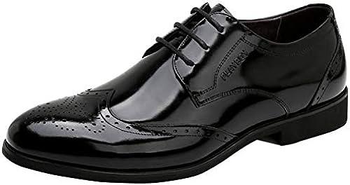 RSHENG Herren Geschnürt Broken Derby Schuhe Geschnitzt Mode Bequemes Kleid Hochzeitsschuhe