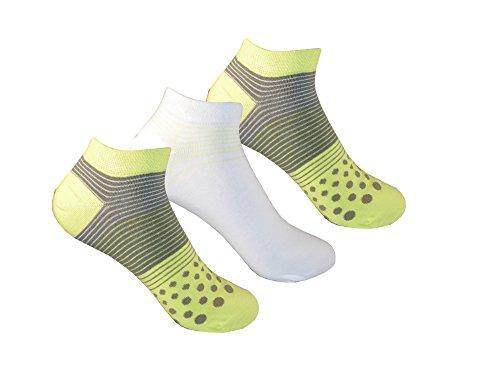 Unbekannt 6 Paar bunte Damen Sneaker Socken Füßlinge Gute Laune farbenfroh viel Baumwolle (Kiwi, 35/38)