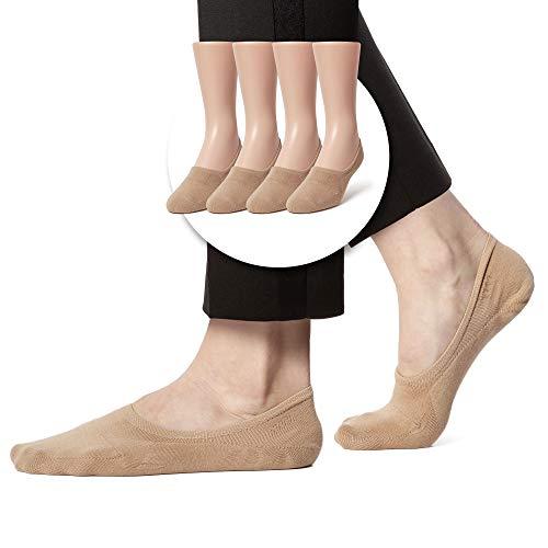 Best BASIC Casual No Show Socks for Men - Guaranteed Non-Slip - Grey Regular 3 pairs