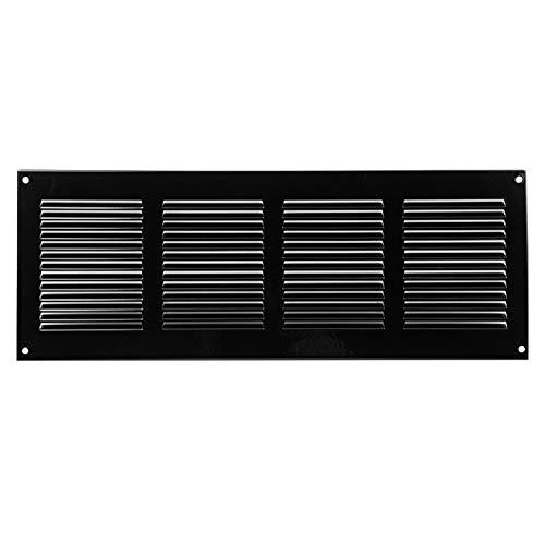 400x150mm Schwarz Lüftungsgitter mit Insektenschutz Abluftgitter Wetterschutzgitter Abluft Zuluft Metall Gitter