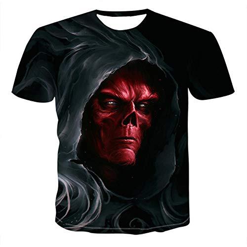 TJJS Persoonlijkheid 3D T-shirt met korte mouwen en digitaal printen T-shirt zomer Schedel demon thema horror tops mode shirt jongenskleding plus size streetwear match Unisex tops Ademend O-hals