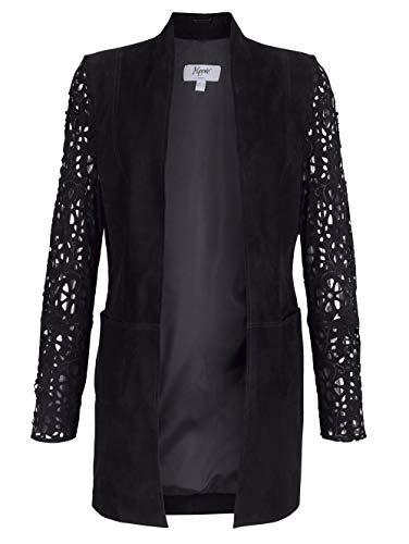 Alba Moda Damen Lederjacke in schwarz aus Lammnappa mit Lasercut Verzierung