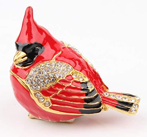 Cardinal Bird Trinket Box Metal Enameled Animal Figurines Collectable Wedding Jewelry Ring Holder Organizer