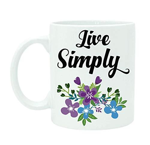 11 Ounces Coffee Mug, Live Simply Mug, Printed Quote Beautiful Coffee Mug, Personalized Tea Mug, Inspirational Mug, White Ceramic Mug, Quote Mug