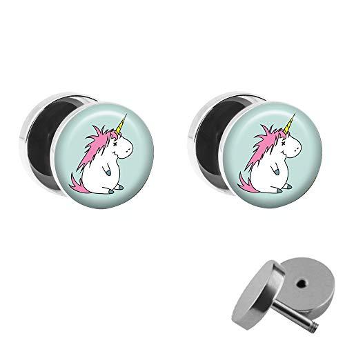 Treuheld® | Set - BETRUNKENES Einhorn - 2 Ohrstecker zum Schrauben mit Unicorn - Bunte Fake Plugs mit kleinem Pony - Ø 10mm - Ohrringe Fakeplug - Edel-Stahl Ohrring mit farbigem Bild - Chirurgenstahl