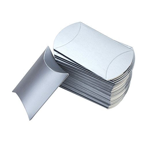 Vlovelife Silver Paper Pillow Favor Gift Box Wedding Party Favour Anti-Scratch Gift Candy Box Pack Of 100