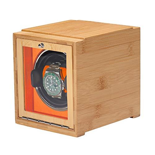Caja de enrollamiento de Spinner Reloj Winders - Bamboo Watch Shaker Single Watch Winder Watch Mecánica Reloj de bobinado automático Caja de almacenamiento de relojes de doble potencia con puerta Bate