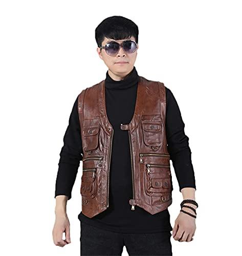 Chaleco de moto para hombre, con múltiples bolsillos, chaleco de cuero genuino, sin mangas, chaqueta