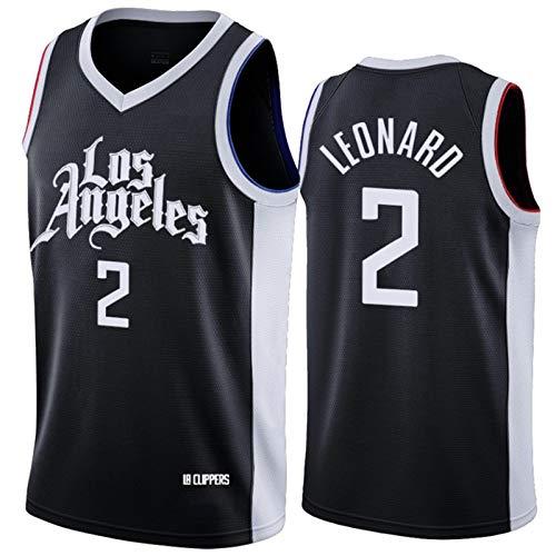 Camiseta de baloncesto para hombre, Clippers Leonard #2, malla de secado rápido, transpirable, sin mangas, camiseta Swingman Jersey de la liga de los hombres, el mejor regalo negro-XXL