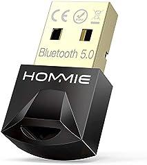 Adaptador de Bluetooth 5.0,Hommie Bluetooth USB PC Window7/8/8.1/10, Adaptador Bluetooth para TV/Auricular/Altavoz/Ratón/Teclado,Buletooth USB Plug y Play Emisor Receptor EDR y 4.0BLE Tecnología