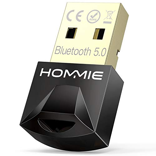 Adaptador de Bluetooth 5.0,Hommie Bluetooth USB PC Window7/8/8.1/10, Adaptador Bluetooth para TV/Auricular/Altavoz/Ratón/Teclado,Buletooth USB Plug y Play Emisor Receptor EDR y 4.0BLE Tecnología