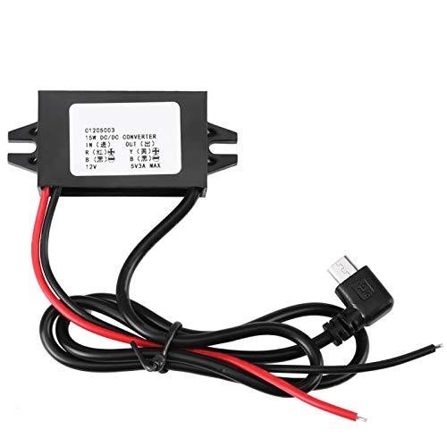 Convertidor de 12V a 5V Regulador de voltaje 3A con alta tasa de conversión y estabilidad para estéreo de automóvil, radio, monitoreo, pantalla LED, ventilador eléctrico, motores