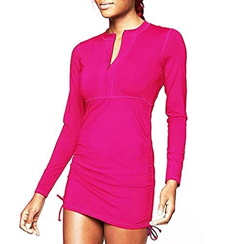 Traje de baño de manga larga con cierre y protección solar UPF 50+ para mujer, Rojo rosa, XXL