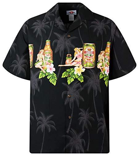 MD - Chemise Hawaienne Authentique Originale Taille L, Noir