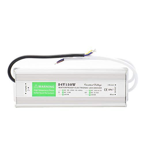 Conductor de Transformador de Iluminación Exterior AC 100-250A a DC 24V 150W IP67 Impermeable La Tira de LED Fuente de Alimentación