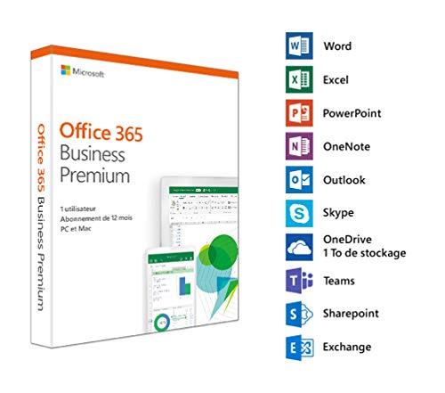 Microsoft Office 365 Business Premium – 1 Utilisateur – 5 PC ou Mac + 5 Tablets + 5 Smartphones – 1 an
