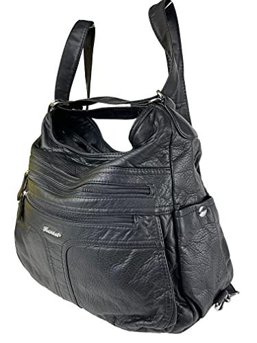 Rucksacktasche I 2in1 Damen Rucksack und Handtasche in Einem I Schultertasche einfarbig Uni und Batik I Damen-Tasche sportlich & leger (A0106 schwarz)