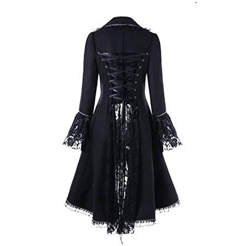 Briskorry Damen Steampunk Gothic Long Coat Frauen Vintage Langärmelige Taille Rücken Bandage Lace Stitching Jacke Overcoat Kostüm Cosplay Kostüm Smoking Uniform