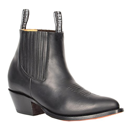 House of Luggage Herren Echtes Leder Chelsea Stiefel Cowboy Stil Spitz Zehe Knöchel Schuhe HLG06MAL (EU 43, Schwarz)