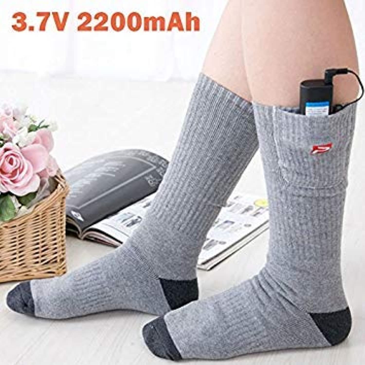 New 3.7V Unisex Winter Electric Rapid Heating Soft Socks Cotton Spandex Sock with 2200MAH Rechargeable Smart Battery HBCA500