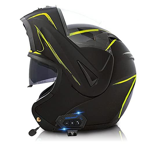 ZPTTBD Casco Moto Modular con Bluetooth Cascos Motocicleta Integrado Hombres Mujeres, ECER 22-05 Aprobado Doble Visera Anti Niebla HD Casco Moto para Adultos (Color : P, Size : (M=57-58CM))