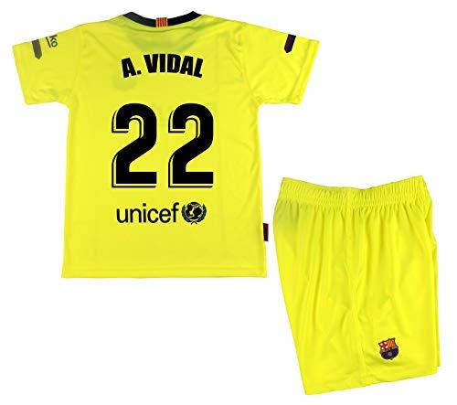 FC Arturo Vidal shirt en broek voor kinderen Barcelona, officieel gelicentieerd product, seizoen 2018-19, neongeel