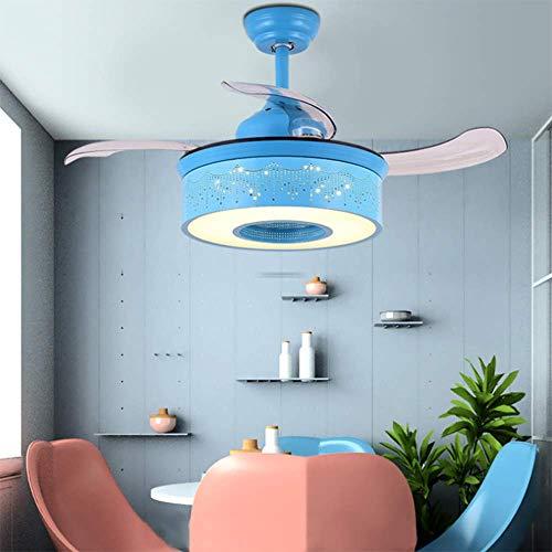 YAMEIJIA Onzichtbare ventilator licht kinderkamer plafondventilator licht eenvoudig creatief met LED slaapkamer eetkamer kroonluchter, blauw