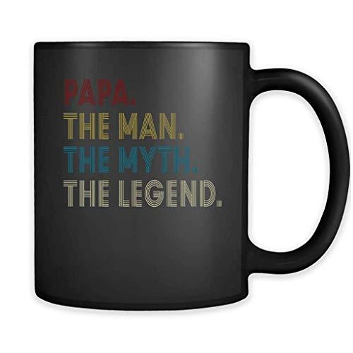 N\A Papa Dad The Man The Myth The Legend, Vintage Retro - Taza Negra de café Envolvente