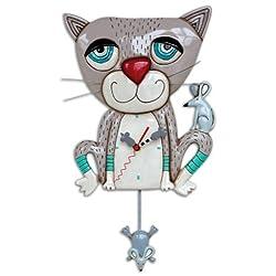Allen Designs Mouser The Cat Gray Kitty Meow Pendulum Battery Wall Clock