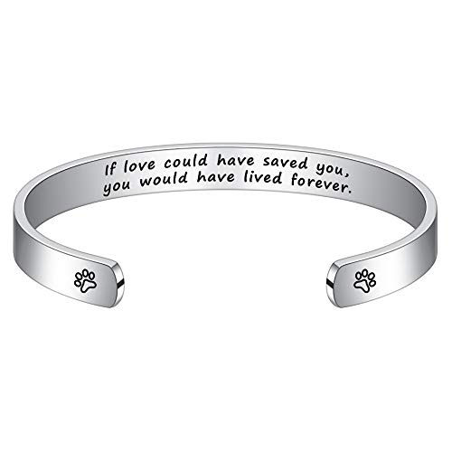 Hidepoo Dog Memorial Gifts Bracelet - Engraved Memorial Loss of Dog Cat Sympathy Gifts,Pet Sympathy Gifts for Dog Lovers,Pet Memorial Cuff Bangle Bracelet Jewelry for Women Men
