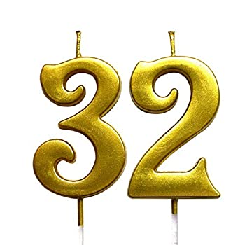 MAGJUCHE Gold 32nd Birthday Numeral Candle Number 32 Cake Topper Candles Party Decoration for Women or Men